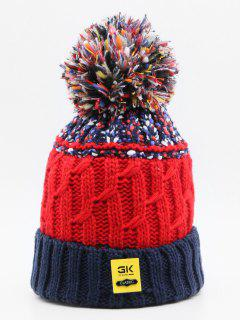 Stylish Knitting Fuzzy Ball Beanie - Lapis Blue