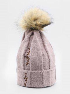 Winter Letter Embroidery Fuzzy Ball Ski Cap - Pink