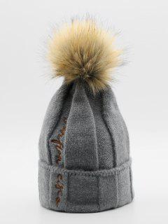 Winter Letter Embroidery Fuzzy Ball Ski Cap - Gray