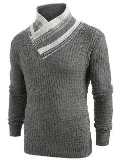 Button Shawl Collar Knit Sweater - Gray L