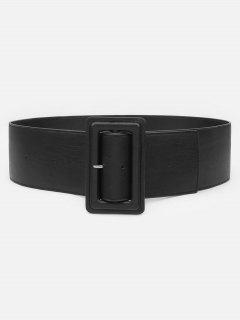 Casual Rectangle Buckle Artificial Leather Belt - Black