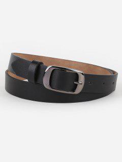 Metal Buckle Artificial Leather Belt - Black
