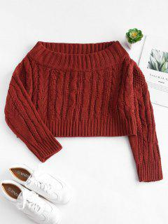 Chunky Cable Knit Off Shoulder Sweater - Blood Red