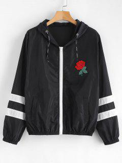Floral Patched Striped Hooded Windbreaker - Black M