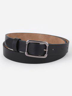 Simple Metal Buckle Skinny Waist Belt - Black