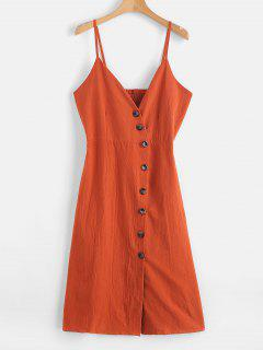 Button Up Smocked Back Cami Dress - Papaya Orange M
