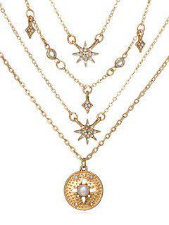 Round Shape Rhinestone Star Decor Necklace - Gold