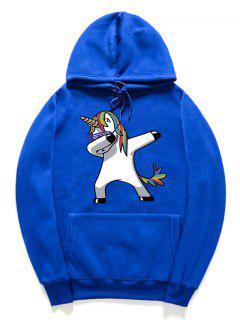 Funny Rainbow Horse Pattern Pullover Fleece Hoodie - Ocean Blue L