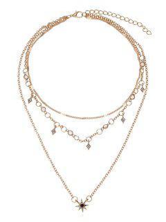 Alloy Geometric Shape Pendant Necklace - Gold