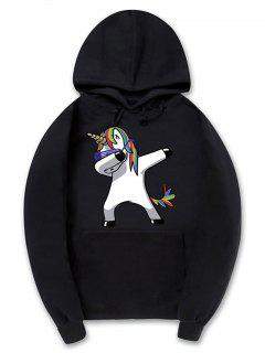 Funny Rainbow Horse Pattern Pullover Fleece Hoodie - Black Xl