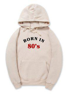 Born In 80's Pattern Fleece Pullover Hoodie - Light Khaki Xl