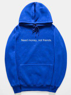 Funny Letter Pattern Pullover Hoodie - Blue Xl