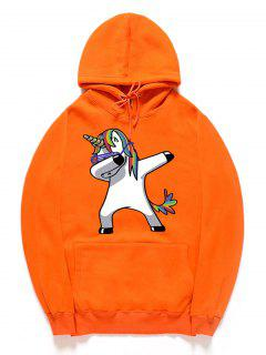 Funny Rainbow Horse Pattern Pullover Fleece Hoodie - Pumpkin Orange Xl