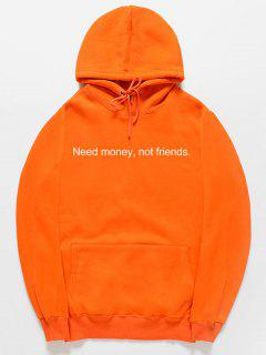 Funny Letter Pattern Pullover Hoodie - Orange 2xl