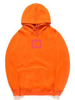 Chinese Letter Pattern Fleece Pullover Hoodie - Orange 2xl