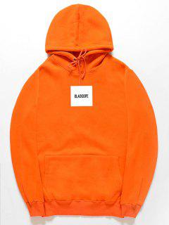 Pullover Fleece Letter Print Hoodie - Orange Xl