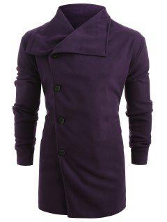 Side Single Breasted Woolen Trench Coat - Purple Xs