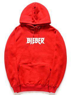 Pull à Capuche En Molleton à Imprimé De Lettres Bieber - Rouge L
