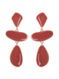 Water Drop Design Enamel Dangle Earrings - Red