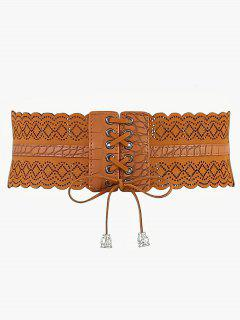 Rhombus Faux Leather Stretchy Wide Waist Belt - Camel Brown