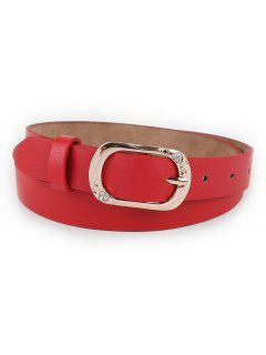 Rhinestone Heart Buckle Faux Leather Skinny Belt - Red