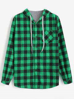 Chemise à Capuche Motif à Carreaux Avec Boutons  - Vert Pomme L