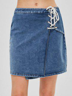 ZAFUL Lace Up Flared Denim Skirt - Denim Blue M