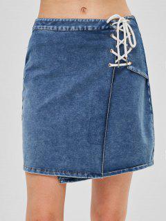 ZAFUL Lace Up Flared Denim Skirt - Denim Blue L