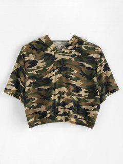 Plus Size Camo Crop Hoodie - Woodland Camouflage 1x