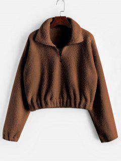 Half Zip Plain Faux Fur Sweatshirt - Brown L