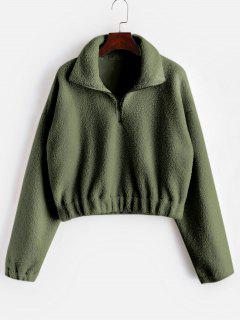 Half Zip Plain Faux Fur Sweatshirt - Army Green M