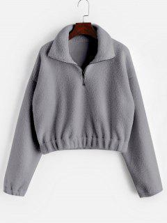 Half Zip Plain Faux Fur Sweatshirt - Gray S