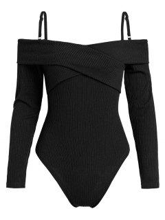 ZAFUL High Cut Long Sleeve Knit Bodysuit - Black M