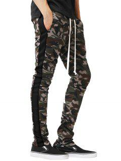 Side Stripe Hem Zipper Camo Drawstring Track Pants - Black L