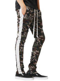 Side Stripe Hem Zipper Camo Drawstring Track Pants - White M