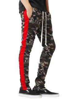 Pantalon Jogging Avec Cordon De Serrage Rayures Sur Le Côté Motif Camouflage Et Avec Fermeture Éclair  - Rouge Xs