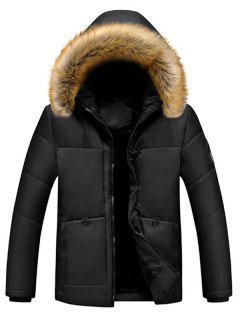 Faux Fur Lined Pockets Zipper Padded Jacket - Black Xl