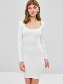 Low Cut Long Sleeve Bodycon Dress - Milk White S
