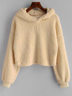 Loose Fit Faux Fur Hoodie - Vanilla M