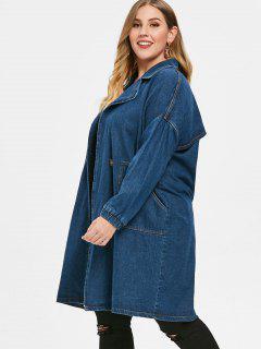 Manteau Avec Poche En Avant De Grande Taille En Denim - Bleu 3x