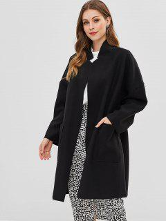 Open Front Loose Fit Woolen Coat - Black S