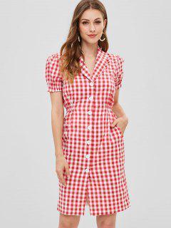 Schal Kragen Gingham Kleid - Flamingo Rosa L
