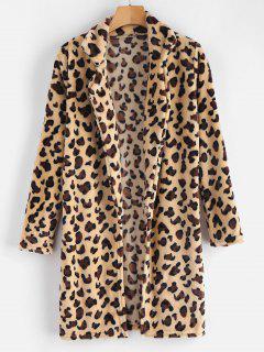 Leopard Print Faux Fur Open Coat - Leopard S