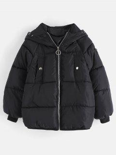 Hooded Raglan Sleeve Padded Jacket - Black L