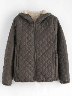 Fleece Lining Pocket Hooded Jacket - Coffee Xl