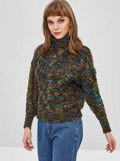 Mixed Yarn Cable Knit Chunky Turtleneck Sweater - Carbon Gray