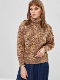 Mixed Yarn Cable Knit Chunky Turtleneck Sweater - Camel Brown
