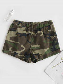 Cuffed Camo Shorts - Camouflage Green S