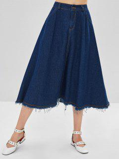 Frayed Hem Jean Skirt - Denim Dark Blue