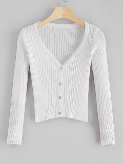 Botón Con Cuello En V Hasta Cardigan Acanalado Recortado - Blanco